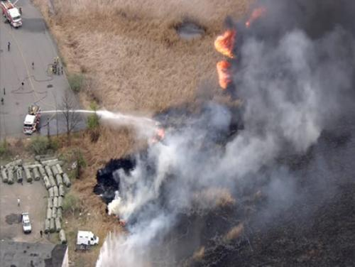 Brush Fire Near Izod Center In New Jersey Contained After Firefighters Battle Flames