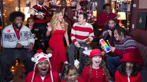 Fallon, The Roots, Mariah Perform Holiday Classic