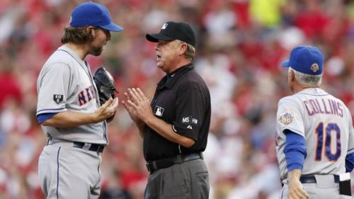 R.A. Dickey Loses Bracelets to Umps, Game to Reds
